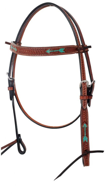 Rafter T Browband Headstall w/ Rawhide Arrow