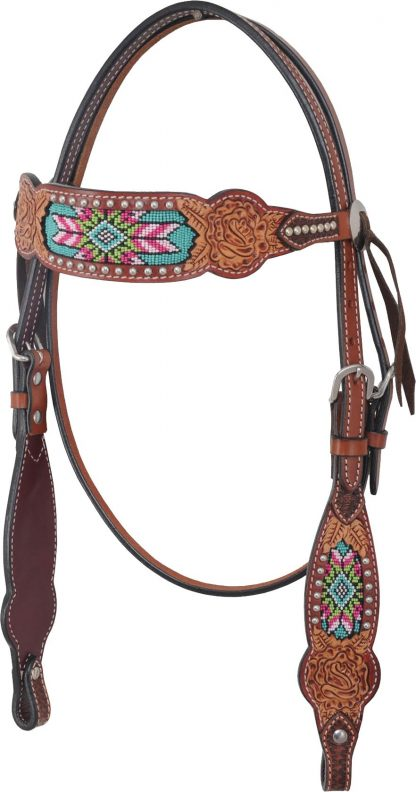 Rafter T Browband Headstall w/ Beaded Inlay