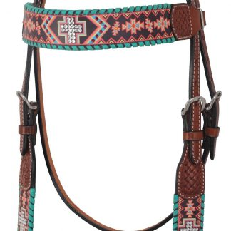 Rafter T Browband Headstall w/ Aztec