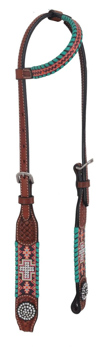 Rafter T One-Ear Headstall w/ Aztec