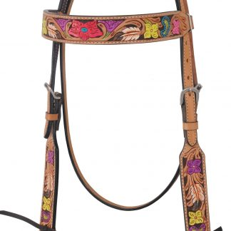 Rafter T Browband Headstall w/ Flower Tooling