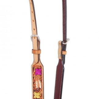 Rafter T One-Ear Headstall w/ Flower Tooling