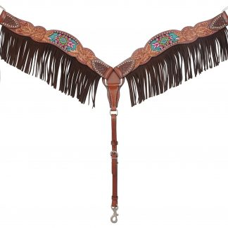 Rafter T Breast Collar w/ Beaded Inlay & Fringe