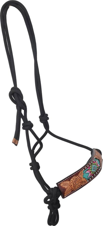 Rafter T Rope Halter w/ Beaded Inlay