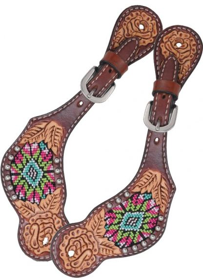 Rafter T Ladies Spur Strap w/ Beaded Inlay