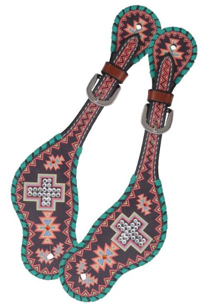 Rafter T Ladies Spur Strap w/ Aztec