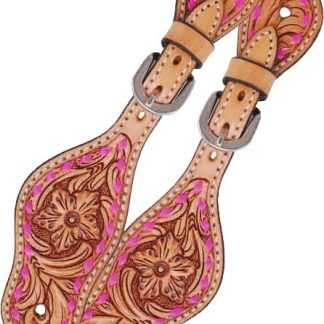 Rafter T Kids Spur Strap w/ Floral Tooling & TT Finish - Pink