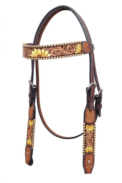 Rafter T Browband Headstall w/ Sunflowers