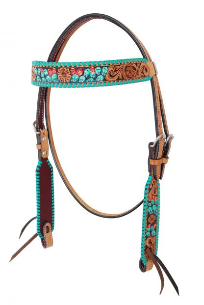 Rafter T Browband Headstall w/ Painted Cactus