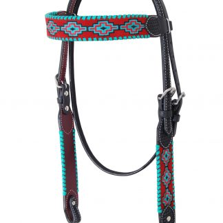 Rafter T Browband Headstall w/ Embroidered Aztec