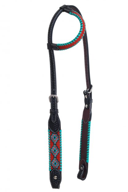 Rafter T One-Ear Headstall w/ Embroidered Aztec