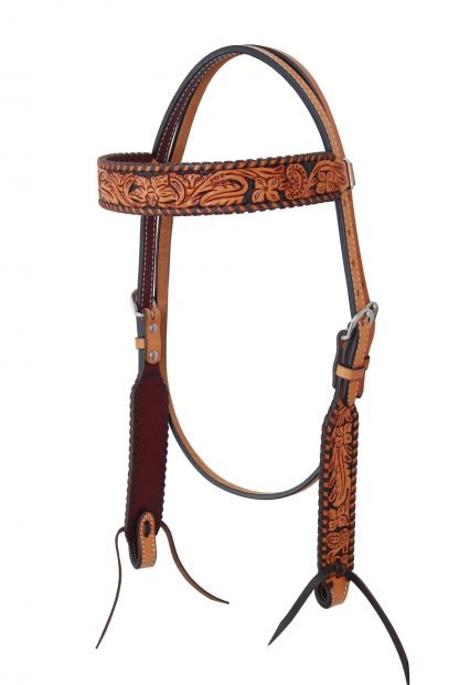 Rafter T Browband Headstall w/ Floral Tooling