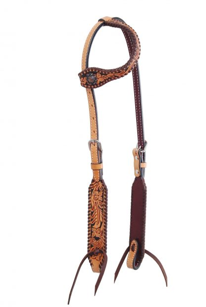 Rafter T One-Ear Headstall w/ Floral Tooling