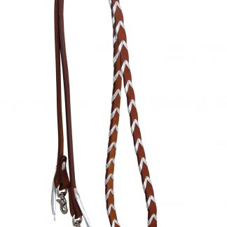 Rafter T Barrel Reins w/ Silver Plait