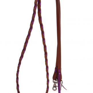 Rafter T Barrel Reins w/ Purple Plait