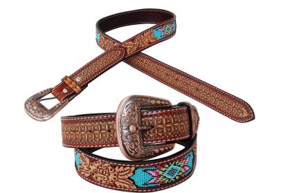 Rafter T Belt - Beaded Inlay w/ Rose & Floral Tooling