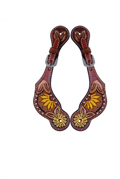 Rafter T Ladies Spur Strap w/ Beaded Sunflower