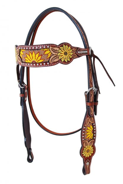 Rafter T Browband Headstall w/ Beaded Sunflower