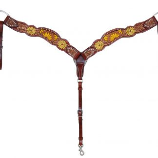 Rafter T Breast Collar w/ Beaded Sunflower