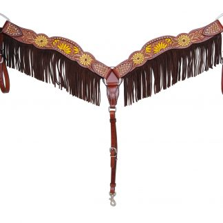 Rafter T Breast Collar w/ Beaded Sunflower & Fringe