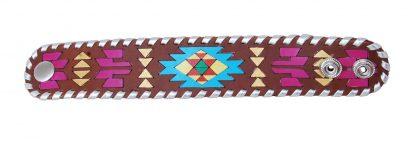Rafter T Cuff Bracelet w/ Hand Painted Aztec