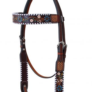 Rafter T Browband Headstall w/ Floral Vine