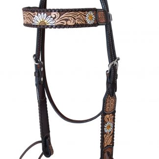 Rafter T Browband Headstall w/ Daisy Flower