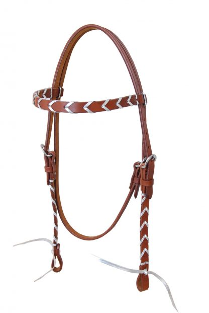 Rafter T Browband Headstall w/ Colored Leather Plait