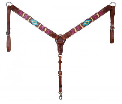 """Rafter T Breast Collar w/ Painted Aztec 1.5"""""""