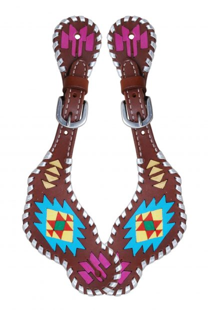Rafter T Ladies Spur Strap w/ Painted Aztec