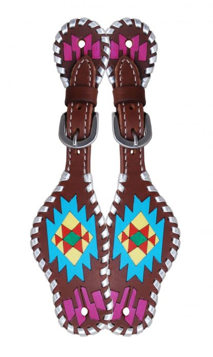 Rafter T Kids Spur Strap w/ Painted Aztec