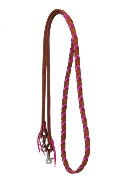 Rafter T Barrel Reins w/ Pink Plait