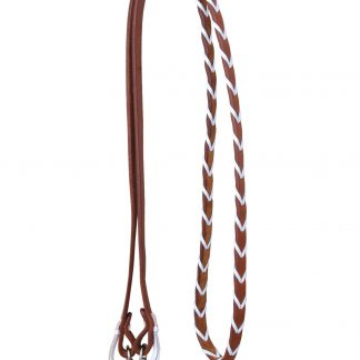 Rafter T Barrel Reins w/ White Plait