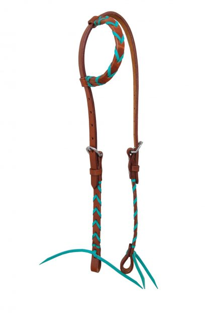 Rafter T One-Ear Headstall w/ Colored Leather Plait