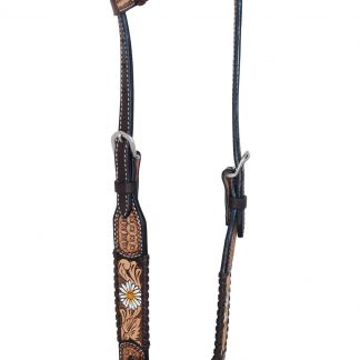 Rafter T One-Ear Headstall w/ Daisy Flower