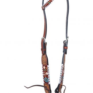 Rafter T One-Ear Headstall w/ Floral Vine