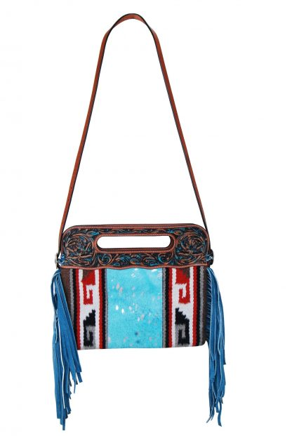 Rafter T Clutch/Cross Body Bag - Blue Fringe